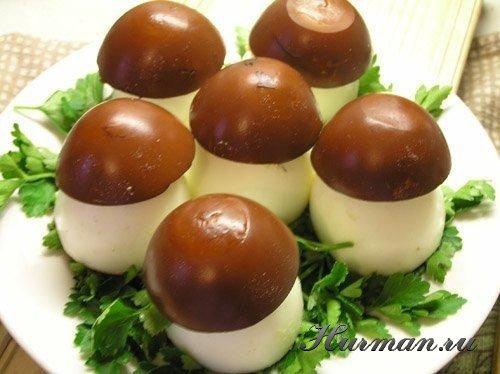 Яйца фаршированные грибочки рецепты